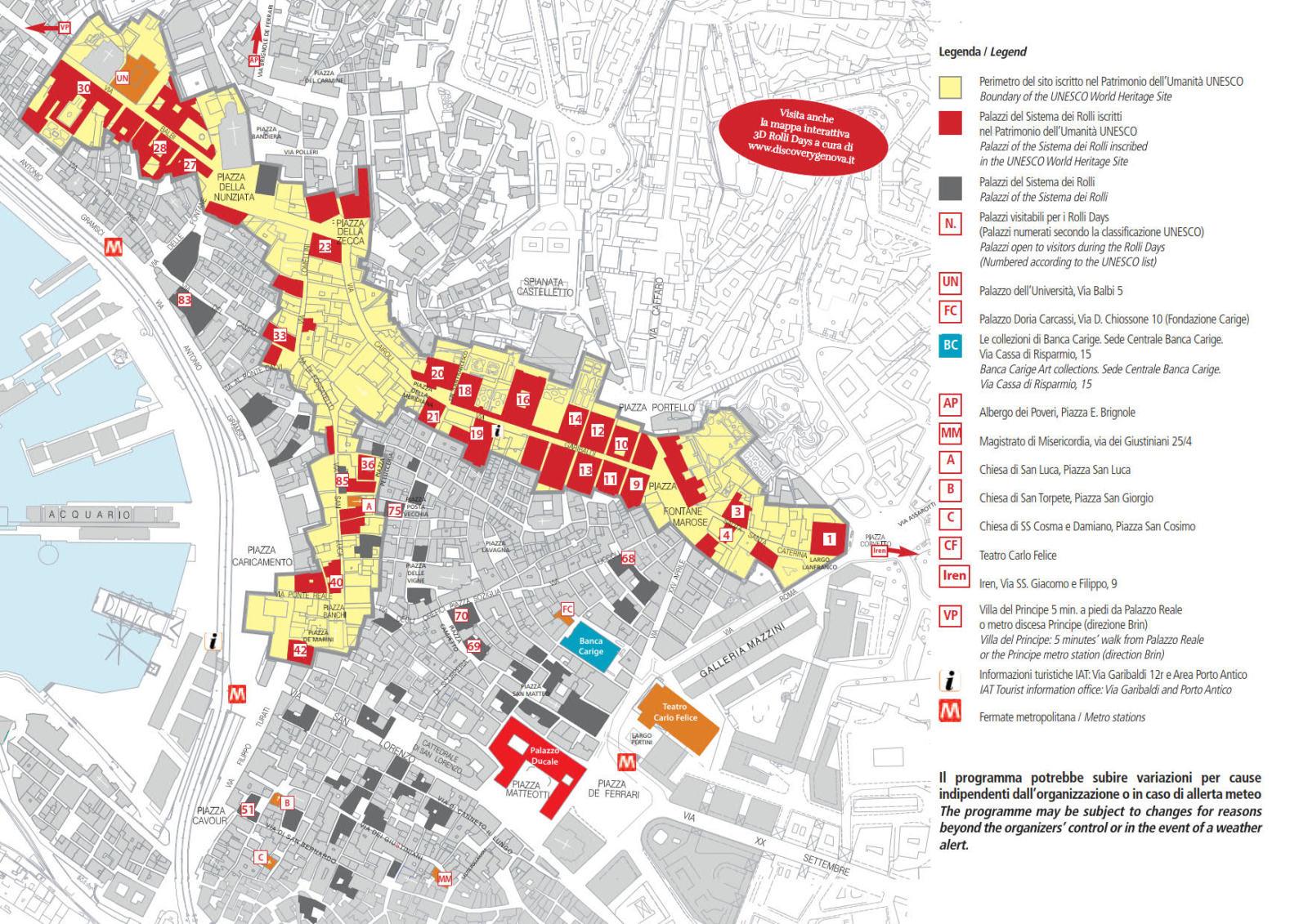Mappa Palazzi Rolli - Genova Maggio 2019