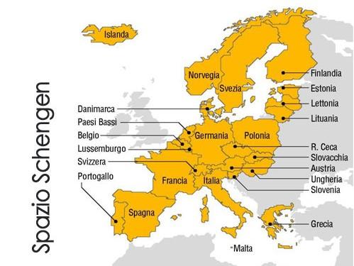 Mappa dei paesi Schengen